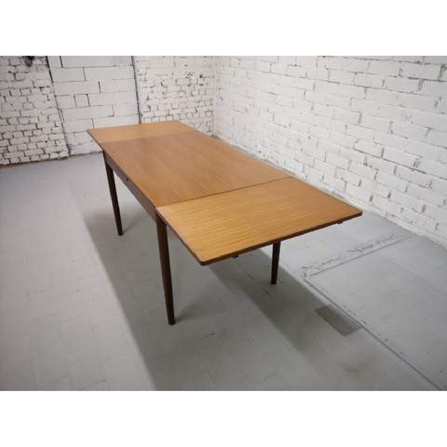 Mid-Century Modern Danish Extendable Draw Leaf Dining Table-5