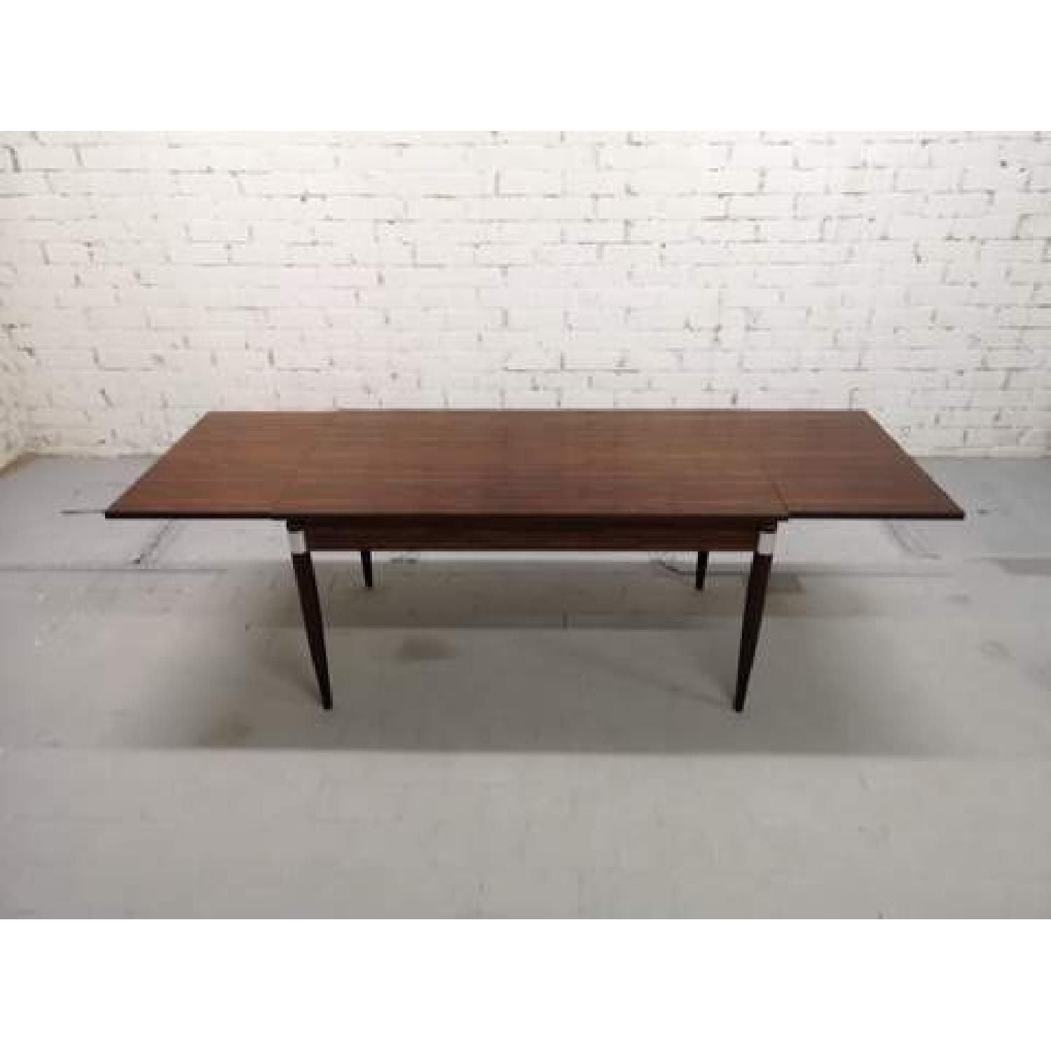 Mid-Century Modern Design Extendable Draw Leaf Dining Table - image-1