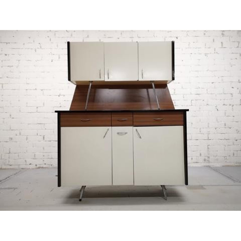 Vintage Mid-Century Modern Danish Two Tone Kitchen Cabinet-1