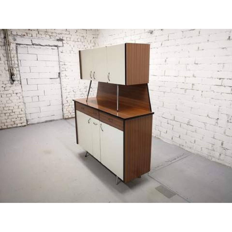 Vintage Mid-Century Modern Danish Two Tone Kitchen Cabinet-3