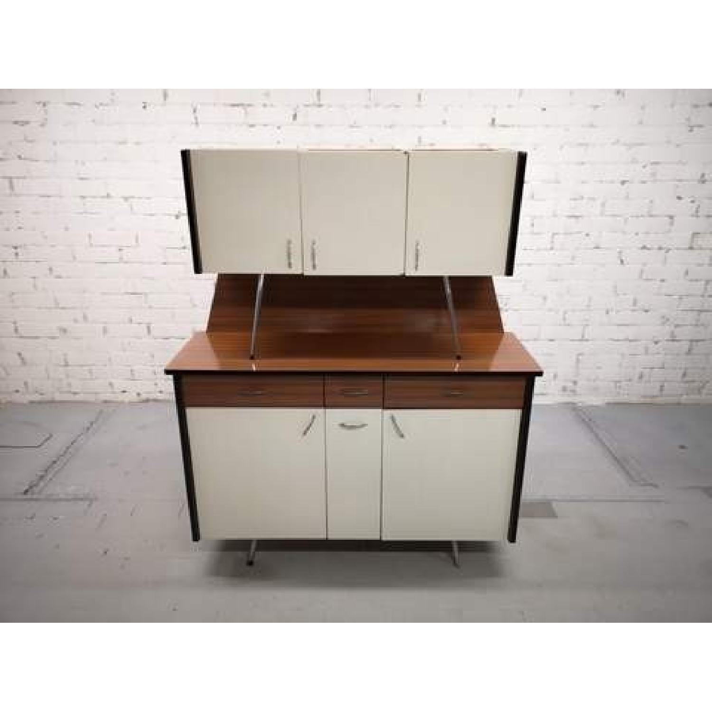 Vintage Mid-Century Modern Danish Two Tone Kitchen Cabinet-6