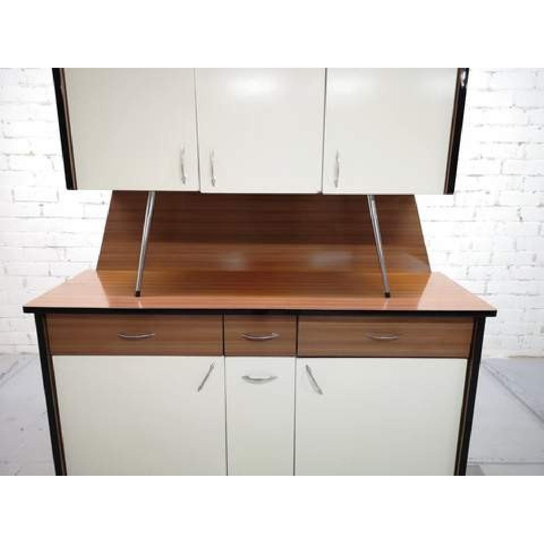 Vintage Mid-Century Modern Danish Two Tone Kitchen Cabinet-7