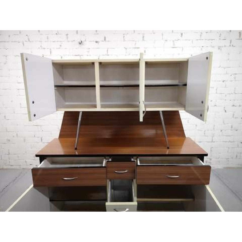 Vintage Mid-Century Modern Danish Two Tone Kitchen Cabinet-8