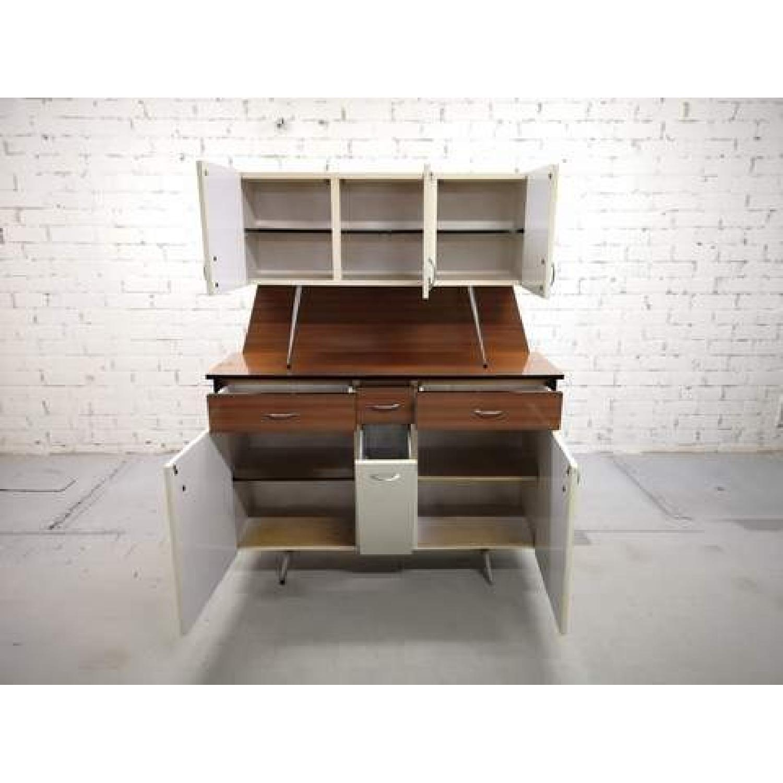 Vintage Mid-Century Modern Danish Two Tone Kitchen Cabinet-9