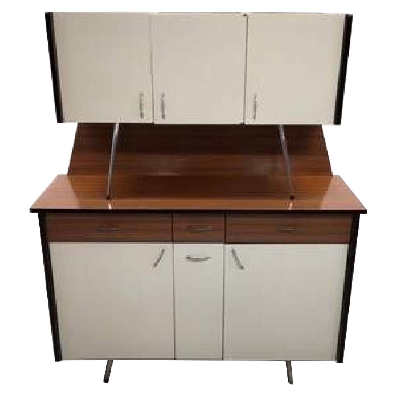 Vintage Mid-Century Modern Danish Two Tone Kitchen Cabinet
