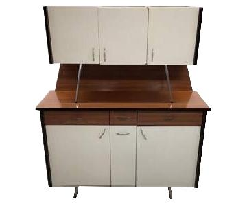 Vintage Mid-Century Modern Danish Two Tone Kitchen Cabinet