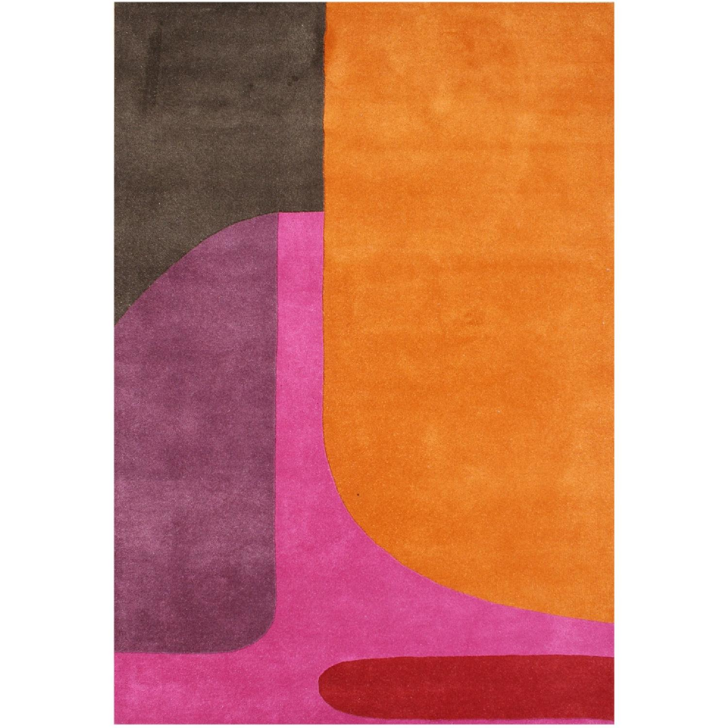 Alliyah Modern Rug in Orange, Purple, Pink, Red & Brown