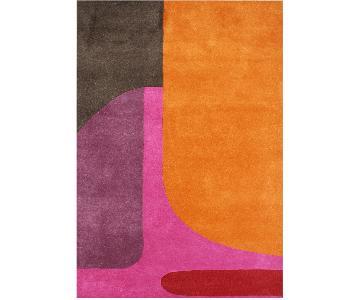 Alliyah Modern Rug in Orange, Purple, Pink, Red & Brown