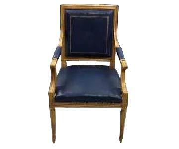 Vintage Louis XVI Style Square Back Blue Leather Armchairs