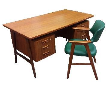 Vintage Danish Mobelfabrik Floating Desk