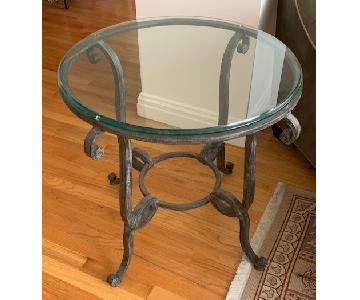 Ballard Designs Iron Side Table w/ Glass Top