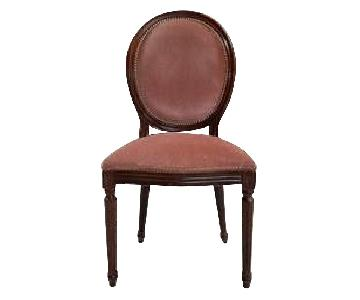 French Louis XVI Coral Pink Velvet Medallion Dining Chairs