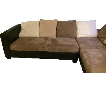 Microfiber Suede & Leather Sectional Sofa w/ Chaise