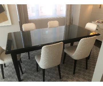 Vanguard Expandable Glass Top Solid Wood Dining Table