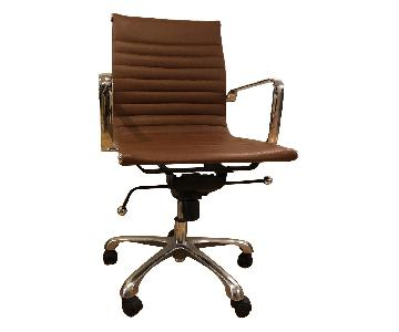 Modern Mid-Back Office Chair in Light Brown Leather