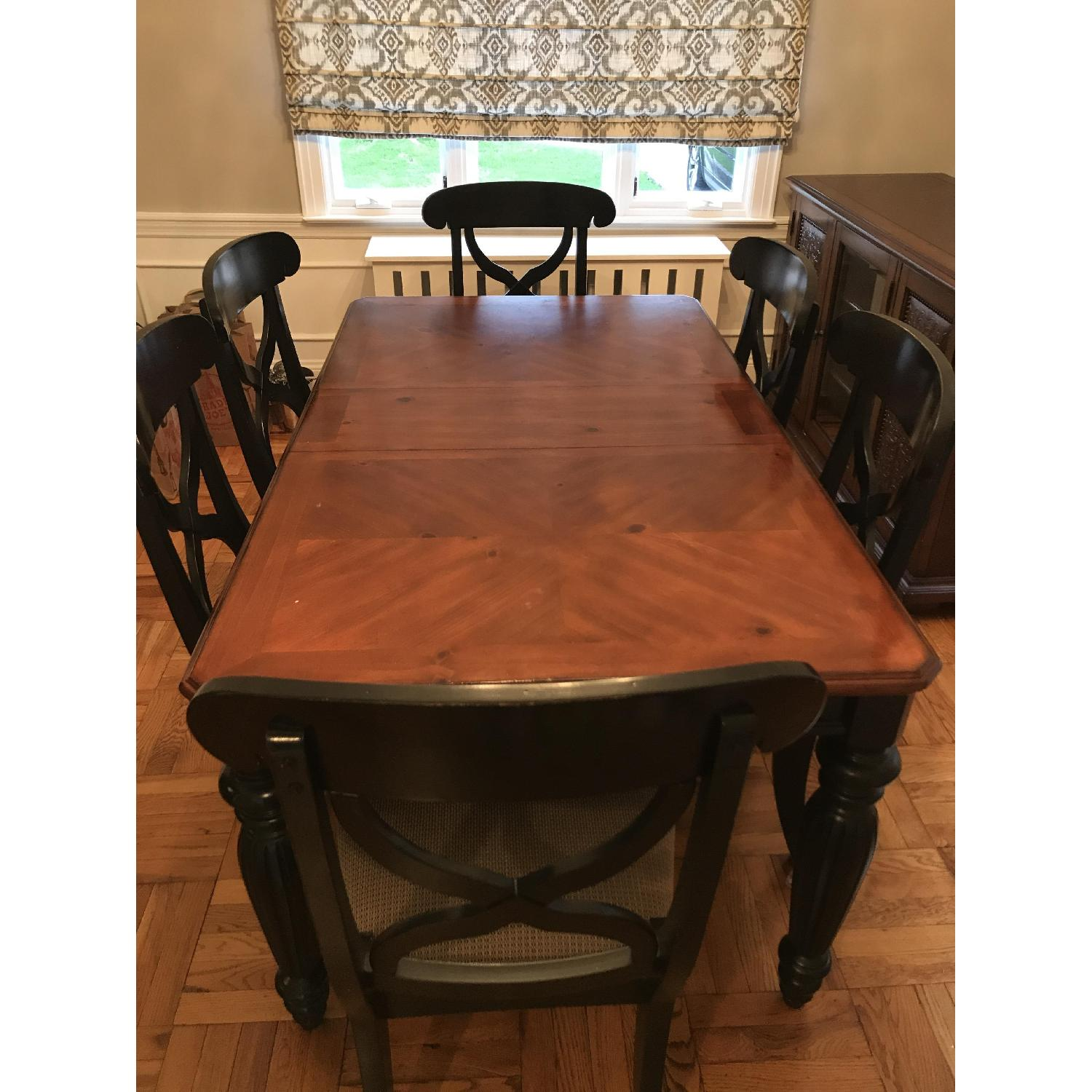 Brown/Black Wood Dining Table w/ 6 Chairs-0