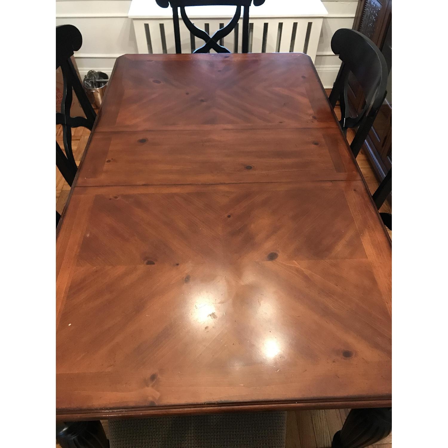Brown/Black Wood Dining Table w/ 6 Chairs-1
