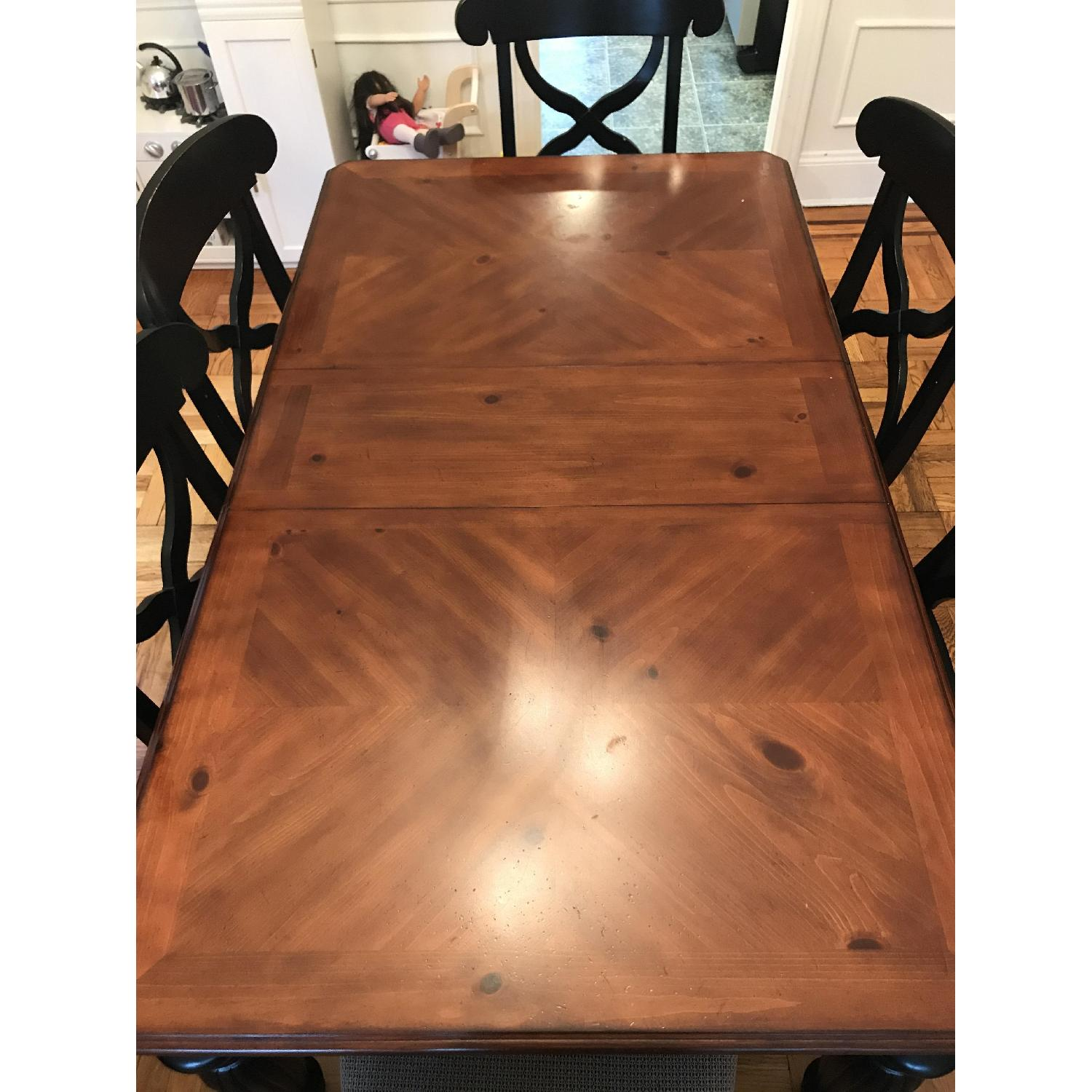 Brown/Black Wood Dining Table w/ 6 Chairs-3