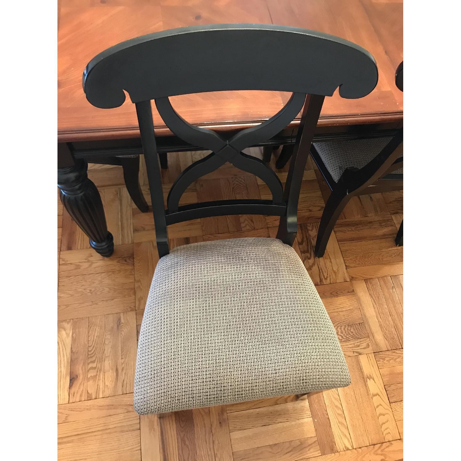 Brown/Black Wood Dining Table w/ 6 Chairs-4