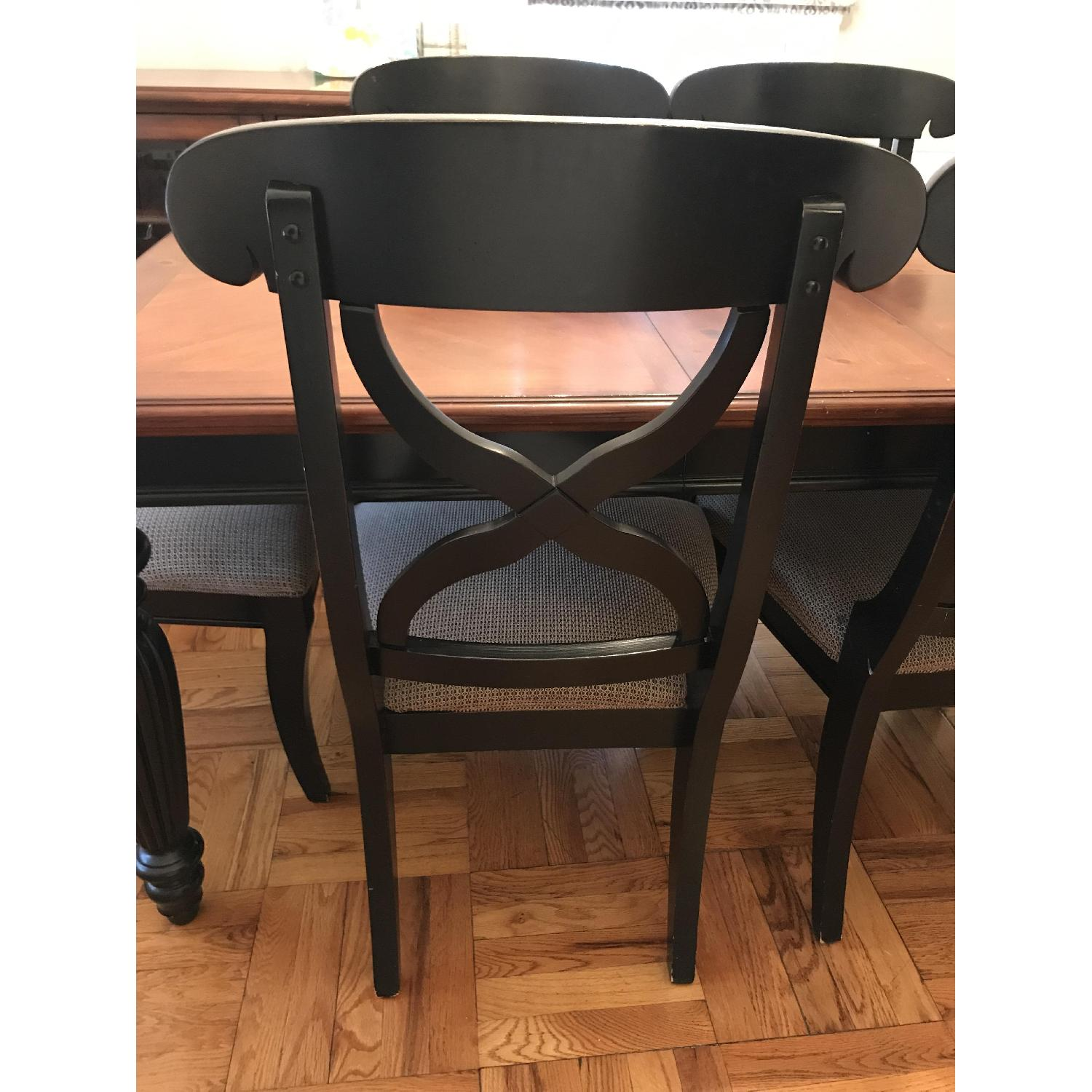 Brown/Black Wood Dining Table w/ 6 Chairs-5