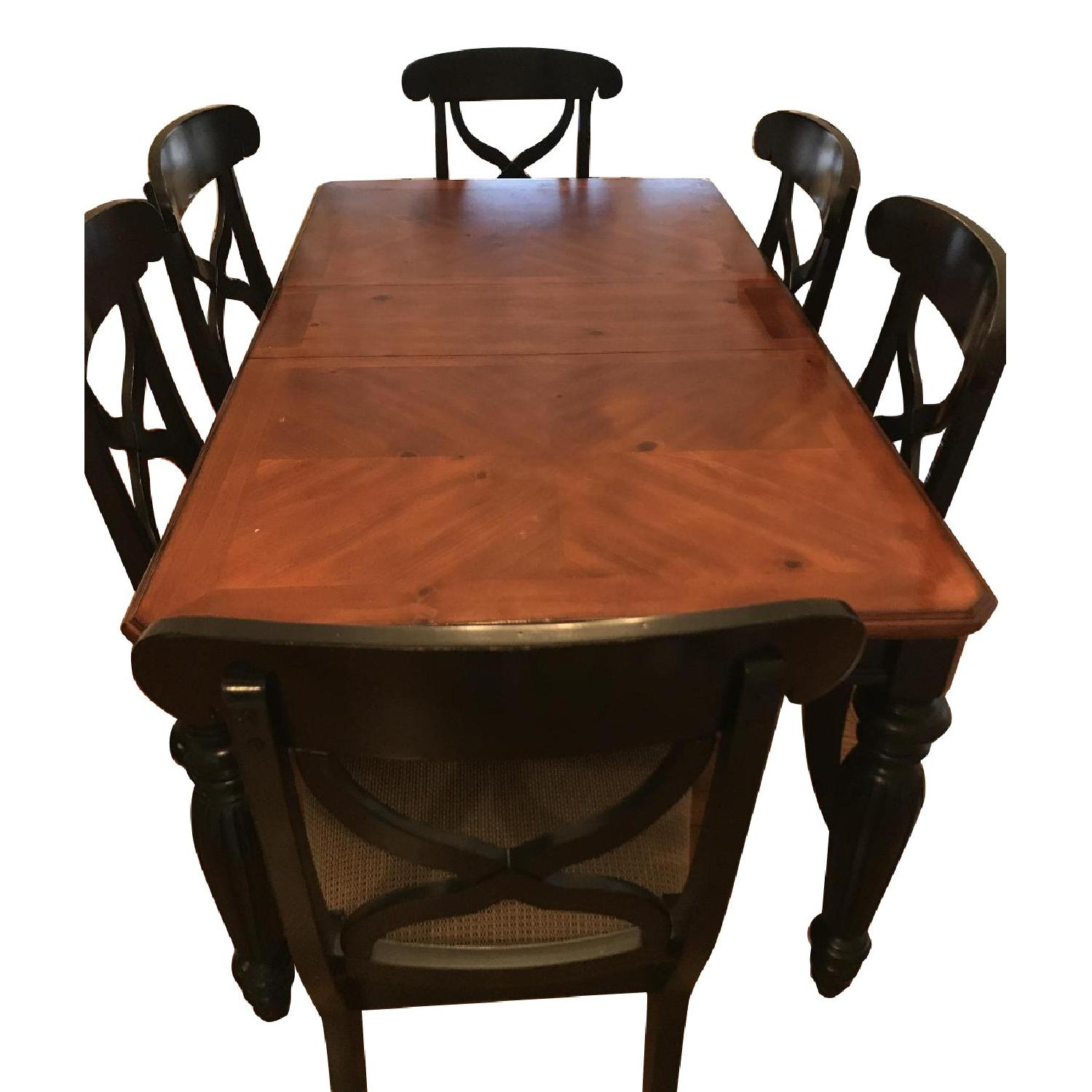 Brown/Black Wood Dining Table w/ 6 Chairs
