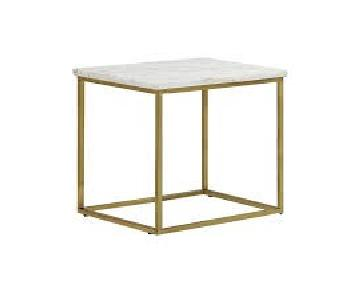 Marble Top End Table w/ Brass Legs