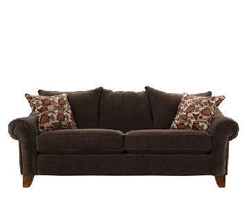 Raymour & Flanigan Molly Brown Fabric Sofa + Chair