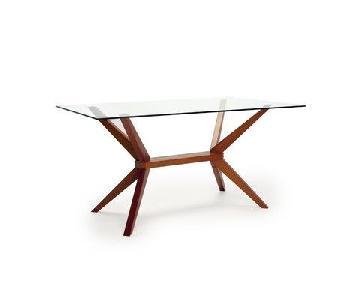 Langley Street Killyglen Modern Glass & Wood Dining Table