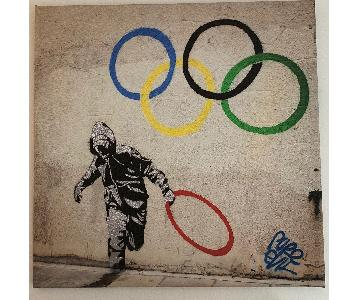 Banksy Canvas Painting of Olympic Rings