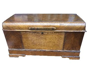Antique 1940s Art Deco Waterfall Cedar Chest w/ Key