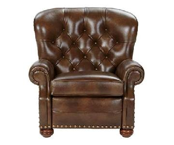 Ethan Allen Handmade Cromwell Omni/Tobacco Leather Recliner