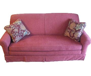 La-Z-Boy Red Slipcovered Sofa