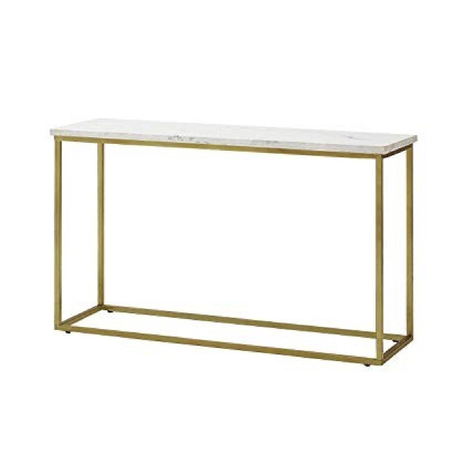 Marble Top Sofa Table w/ Brass Legs