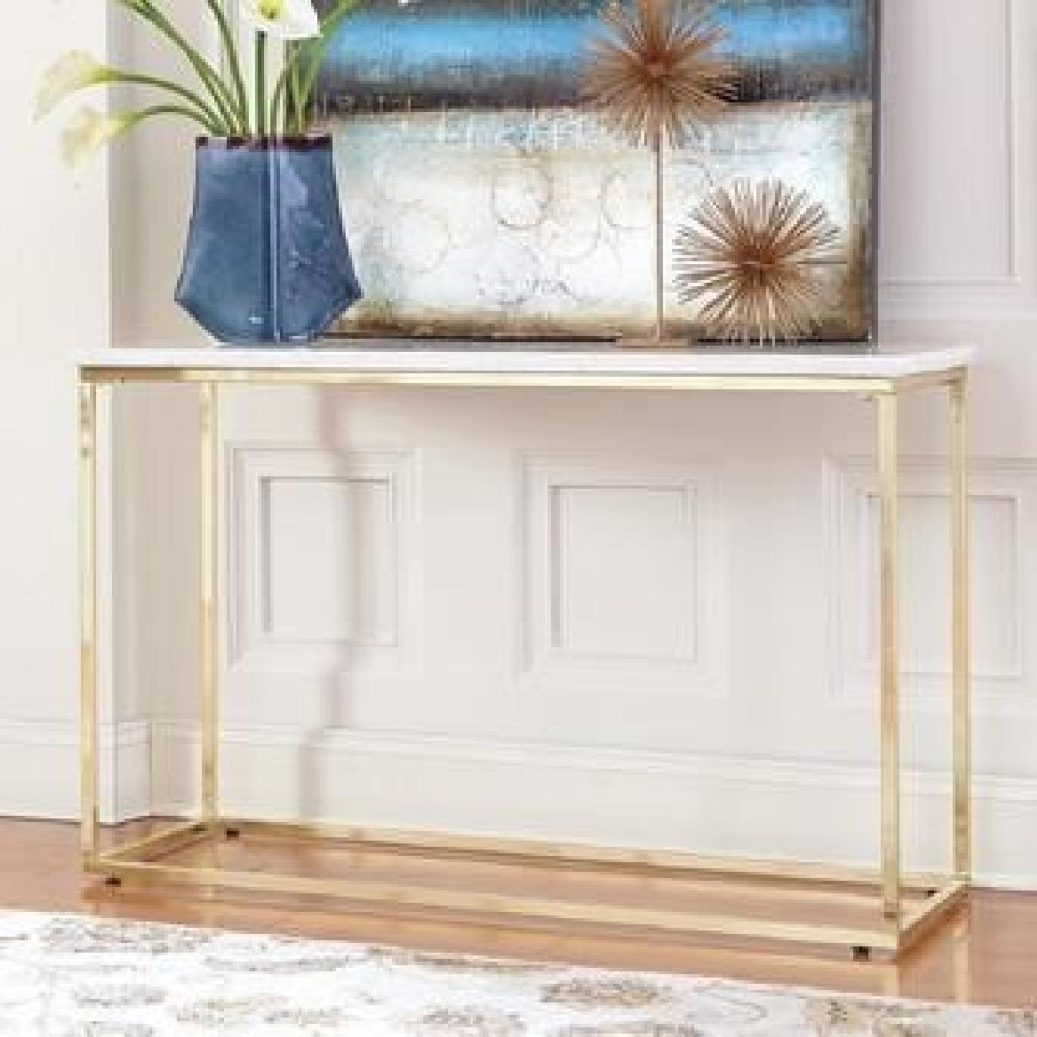 Marble Top Sofa Table w/ Brass Legs-0
