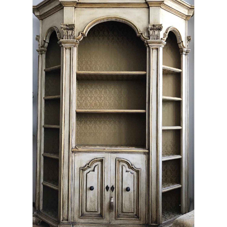 Antique Wood Bookcase w/ Cabinet