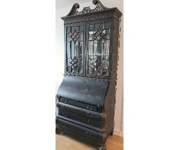 Vintage Black Hand-Painted Asian China Cabinet