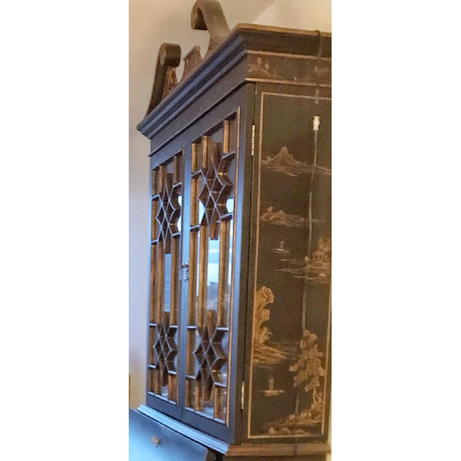 Vintage Black Hand-Painted Asian China Cabinet-0