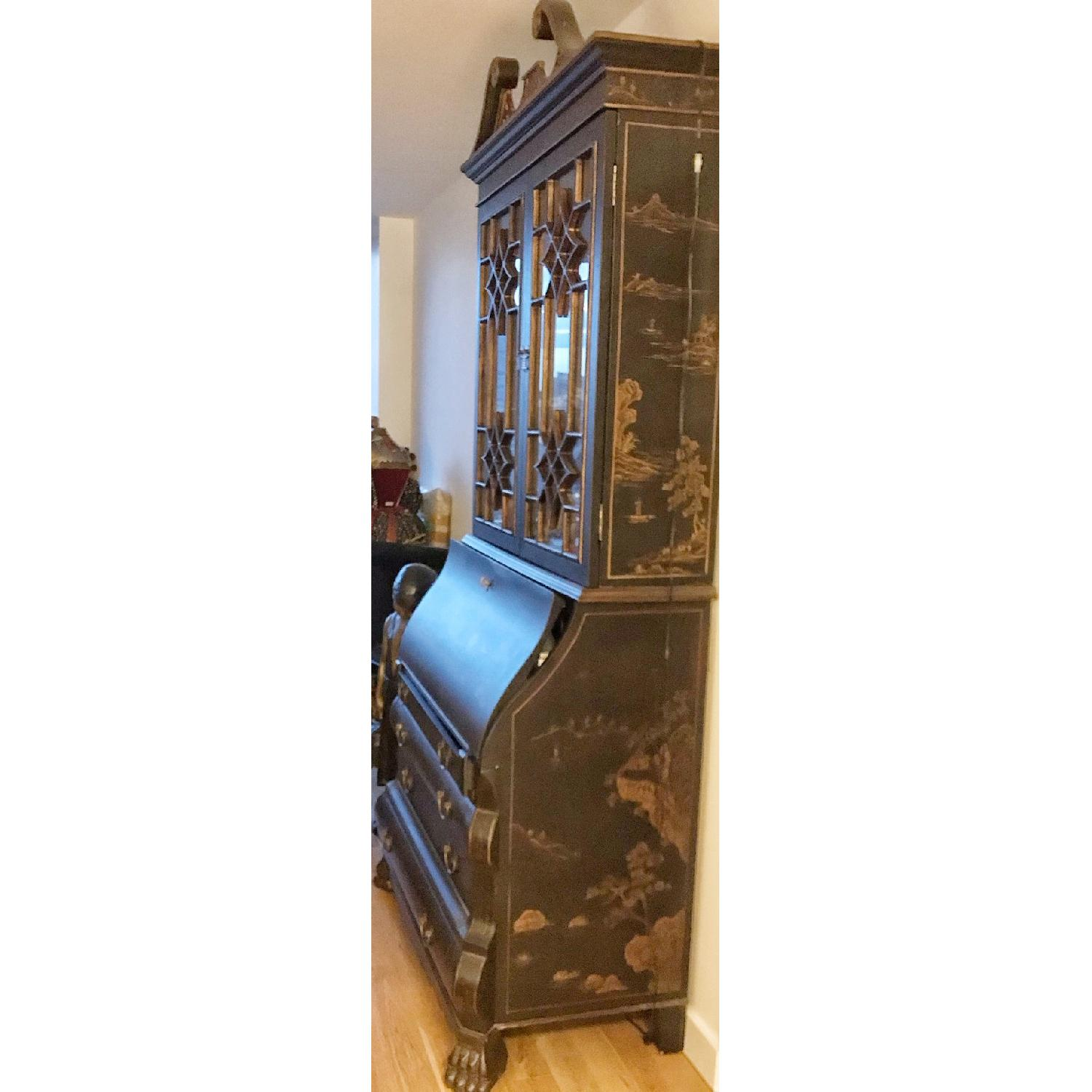 Vintage Black Hand-Painted Asian China Cabinet-1
