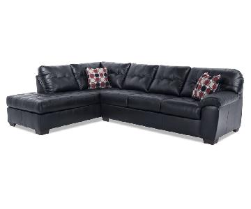 Bob's Black Leather 2-Piece Sectional Sofa