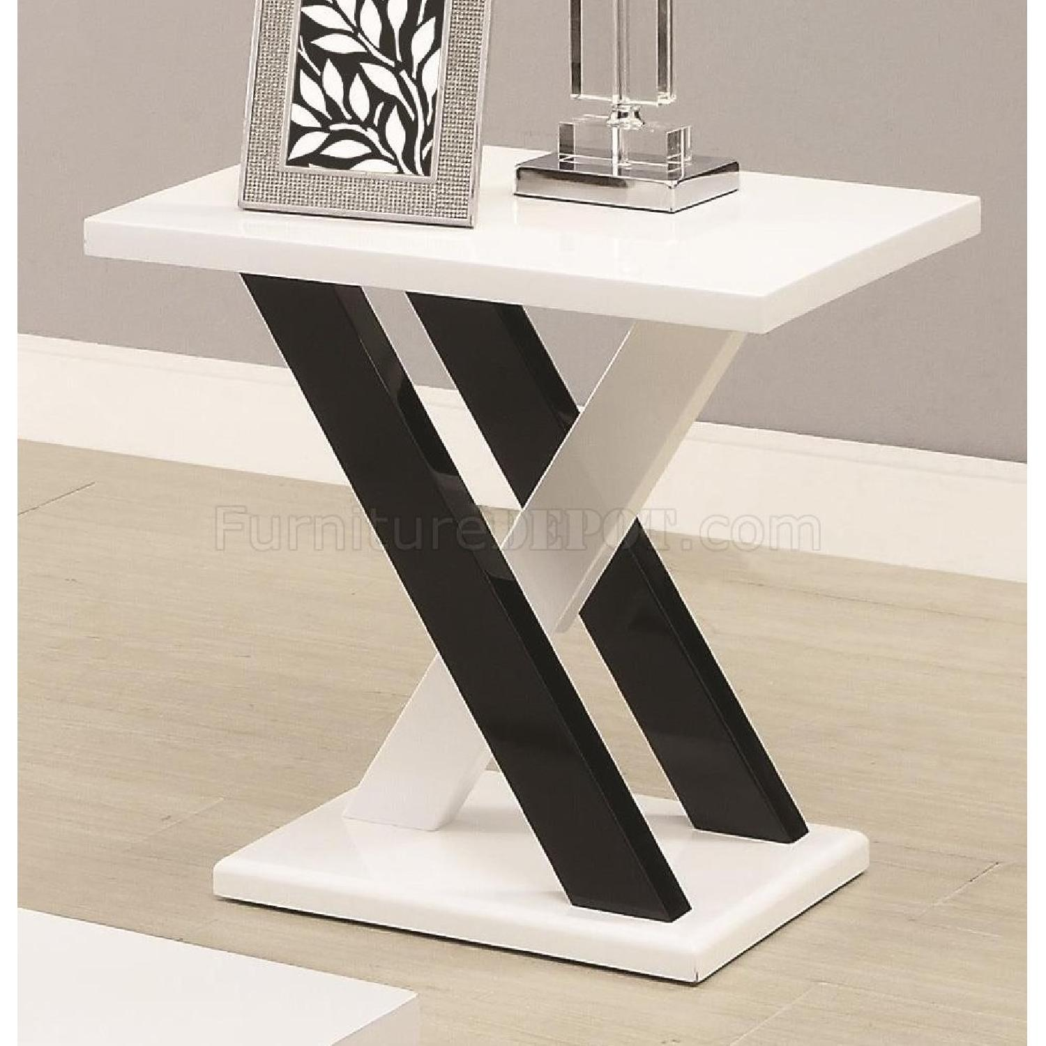 Black/White Coffee Table + 2 End Tables-1