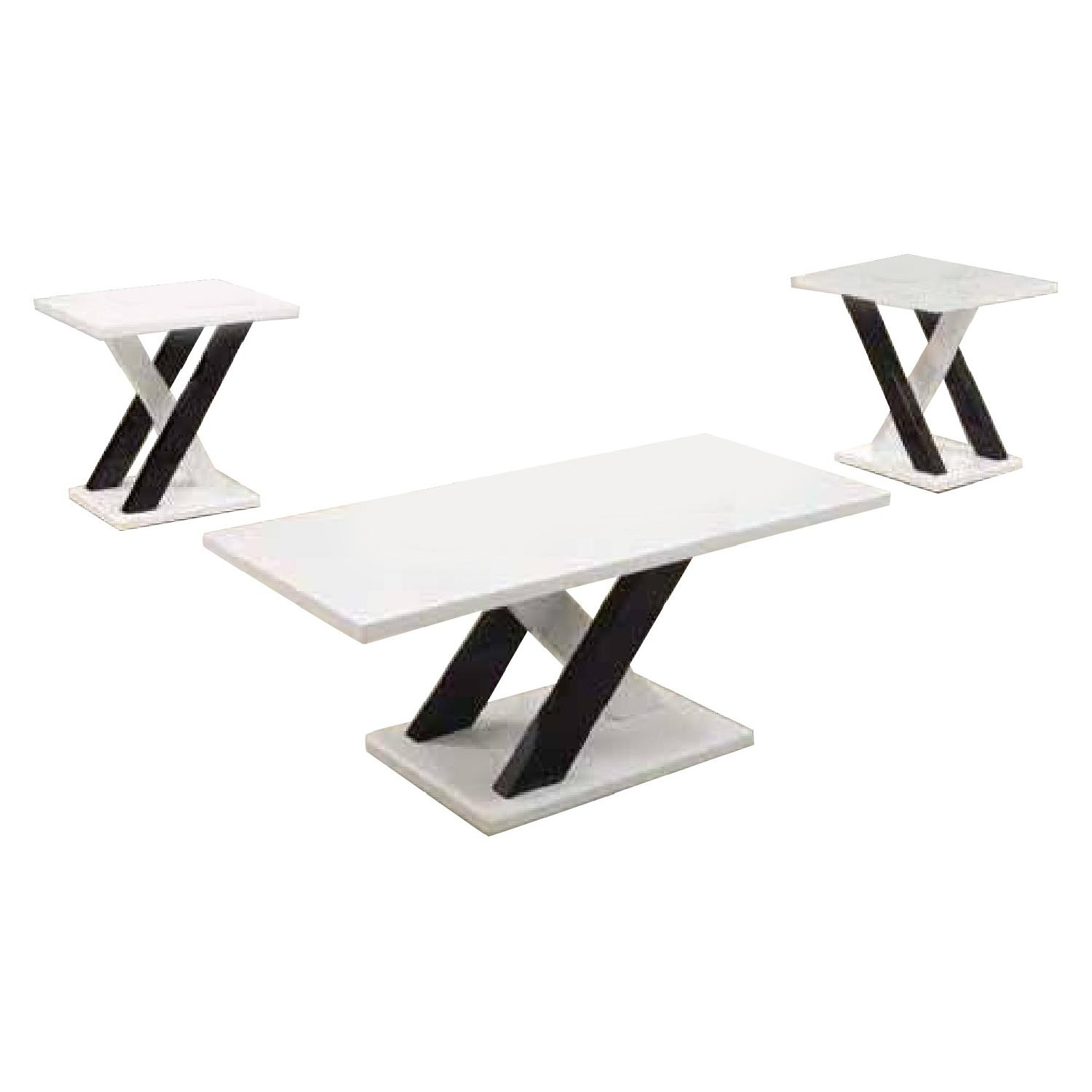 Black/White Coffee Table + 2 End Tables