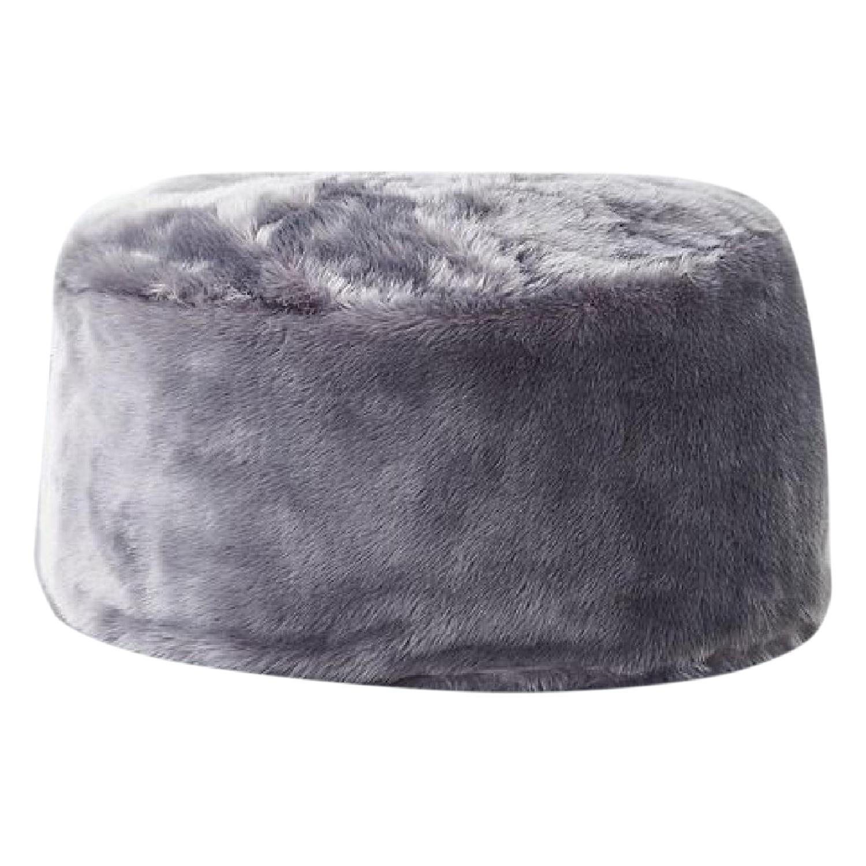 CB2 Grey Faux Fur Pouf