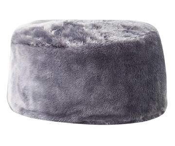 CB2 Grey Faux Fur Pouf