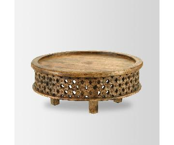 West Elm Raw Mango Handcrafted Round Coffee Table