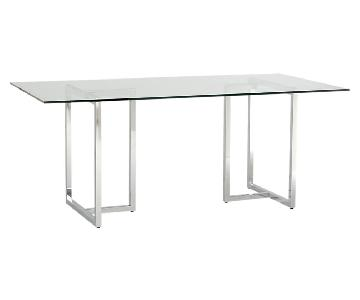 CB2 Silverado Glass & Chrome Rectangular Dining Table