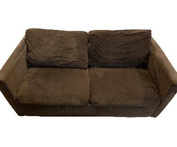 Brown Suede Sleeper Sofa