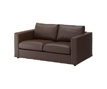 Ikea Dark Brown Leather Loveseat