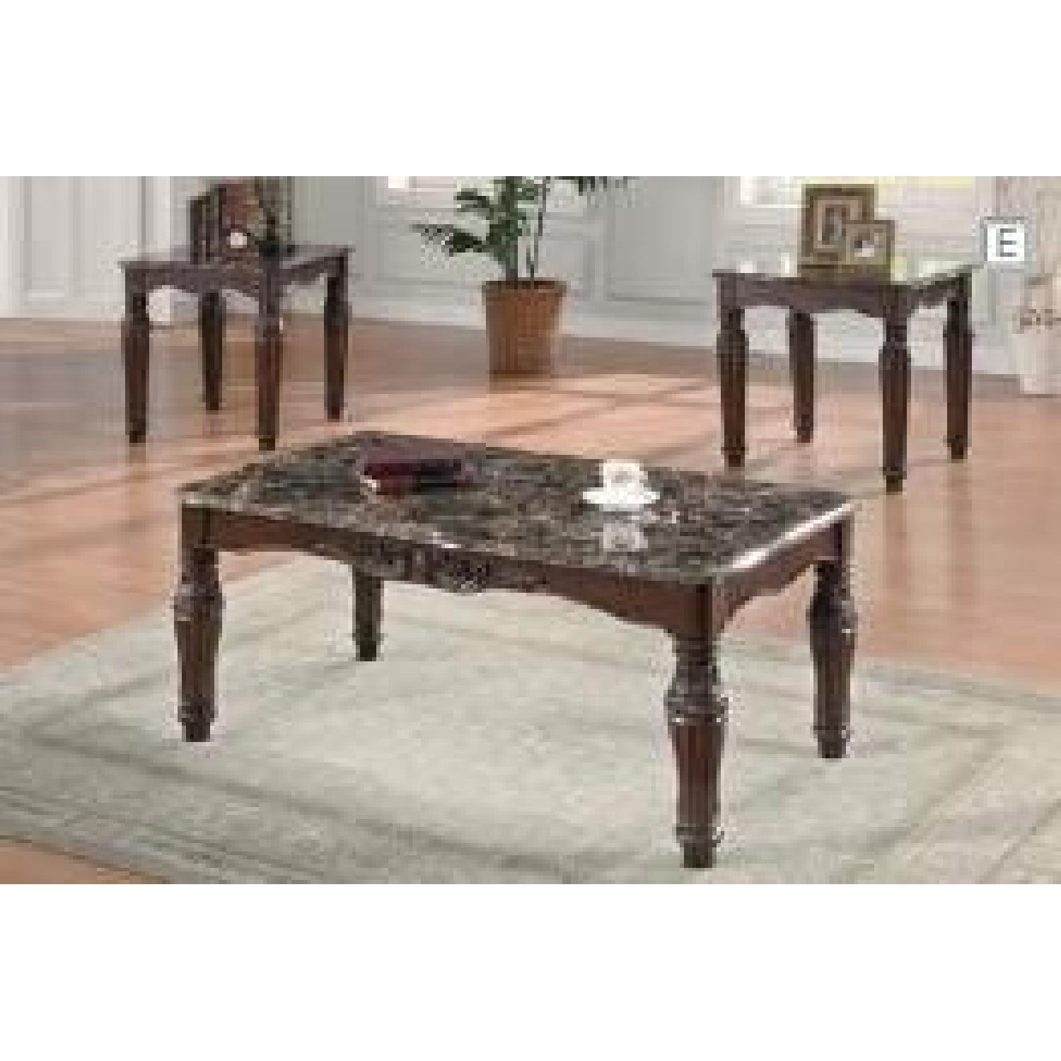 Faux Marble Table Top 3pcs Coffee Table Set - image-2
