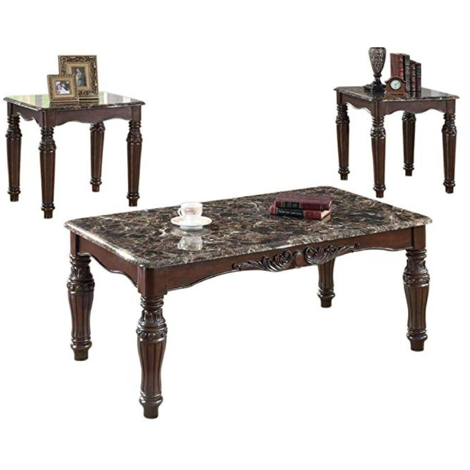 Faux Marble Table Top 3pcs Coffee Table Set - image-3
