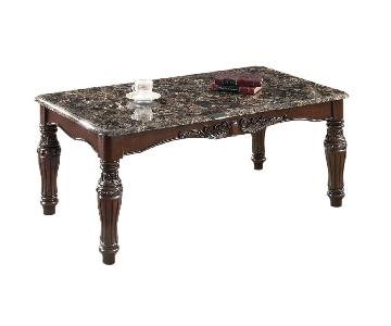 Faux Marble Table Top 3pcs Coffee Table Set